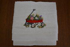 Handdoek: Rood wagentje met bloemen (Towel: Little red wagon with flowers)
