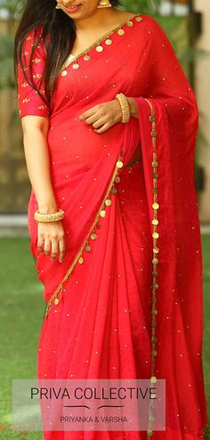 PV 3812 : Red kaasuluPrice : bright and beautiful in this now trending… - blouse Chiffon Saree, Saree Dress, Silk Dress, Red Saree, Silk Chiffon, Sari Design, Saree Tassels Designs, Modern Saree, Saree Blouse Neck Designs