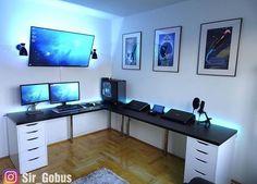 Home Office Setup, Home Office Space, Home Office Design, Gaming Room Setup, Gaming Rooms, Dream Desk, Bedroom Setup, Desk Inspiration, Video Game Rooms