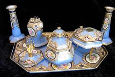 Rare and lovely antique Noritake porcelain nine-piece dresser set