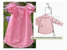 Baby Girl Dress Upcycled from Men's Shirt – DIY Kleid Upcycled von Herrenhemd – DIY Fashion Kids, Diy Fashion, Ideias Fashion, Fashion Sewing, Shirt Refashion, Diy Shirt, Clothes Refashion, Sewing Clothes, Diy Clothes