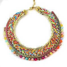 Pastel Colorful yellow pink blue beads golden brass and rope choker-collar elegant  trendy Tribal Ethnic Oriental Style statement necklace on Etsy, $43.29