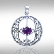 Chalice Well Silver Pendant  TP3307  - Chalice Well with Gem