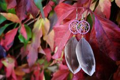 Lilac and Orange Dream Catcher Earrings by nZuriArtDesigns on Etsy