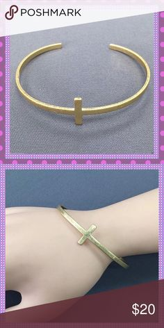 Matte Gold Cross Design Cuff Bracelet BEAUTIFUL & TRENDY Matte Gold Alloy Cross Cuff Bracelet, simple & beautifully made, high quality, open cuff to fit most size wrists. Wear alone or stack with other arm candy! Boutique Jewelry Bracelets