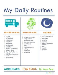 Back To School Establishing Morning & Evening Routines 4 Kids is part of Organization Kids Schedules - Back to Shool Printables to help establish morning and evening routines After School Schedule, Daily Schedule Kids, Kids Checklist, Kids Schedule Chart, Kids Morning Checklist, Daily Routine Kids, School Checklist, Morning Routine School, School Routines