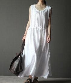 Maxi Dress  Summer Dress in Rice White black  blue by clothnew88, $79.99