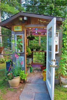 19 Whimsical Garden Shed Designs Storage Shed Plans Pictures with regard to Gardening Shed Ideas Best Greenhouse, Indoor Greenhouse, Greenhouse Plans, Homemade Greenhouse, Portable Greenhouse, Shed Conversion Ideas, Garden Shed Diy, Garden Tools, Garden Art