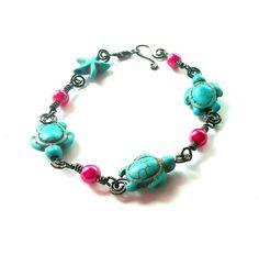 Wire work sea turtle bracelet by Eleksmom on Etsy