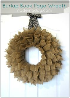 Burlap Wreath - with some fall colors/leaves, great for the front door!