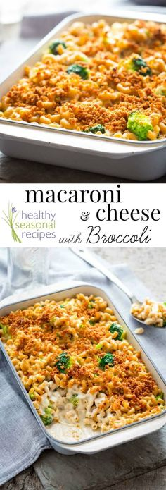 This delicious baked macaroni & cheese with broccoli is a healthy make-over of the classic casserole. But with its crunchy golden brown breadcrumb topping and uber-creamy cheese sauce you won't miss a thing. This is a family weeknight dinner favorite and is ready in just 45 minutes! | Healthy Seasonal Recipes | @healthyseasonal