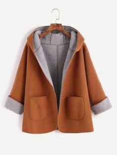 Kapuzenmantel kontrast Sherpa-khaki