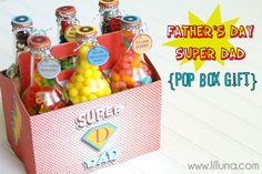 Super Dad pop box gift - make this cute gift from a 6 pack of soda pop.
