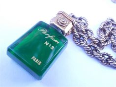 Vintage Perfume Bottle Necklace Green Chain by VillaCollezione, $20.00