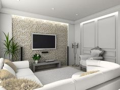 Are you looking to brighten up a dull room and searching for interior design tips? One great way to help you liven up a room is by painting and giving it a whole new look. Living Room Tv, Home And Living, Apartment Living, Living Area, Tv Wall Design, House Design, Tv Wanddekor, Plafond Design, Tv Wall Decor