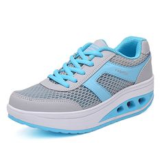 Sale 11% (29.76$) - Summer Women Mesh Rocker Sole Shoes Casual Outdoor Sport Breathable Athletic Shoes