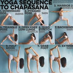 YOGA SEQUENCE TO CHAPASANA: Warm up: Sun Salutation A & B 5x each, Google if…