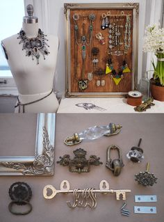 DIY Jewelry Display Tutorial. old Drawer knobs and handles make excellent jewelry holders. even decorate an old frame to put around it