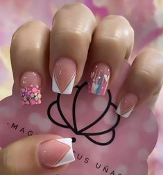 Cute Acrylic Nails, 3d Nails, Love Nails, Confetti Nails, Acylic Nails, Birthday Nails, Press On Nails, French Nails, Simple Nails