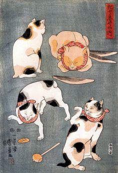 Cats Illustrating Proverbs by Utagawa Kuniyoshi (Japanese Bobtails).