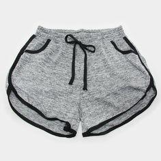 "Black Trim Drawstring Jogger Shorts...Color: Grey • Style No : 297762 • Color : Grey  • Size : 13"" W(Waist-Stretchable), 15"" L • Material : 55% Cotton / 35% Polyester / 10% Spandex • Black trim solid color drawstring jogger shorts Shorts"