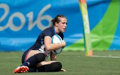 Great Britain's Emily Scarratt, looks on after scoring a try during the women's rugby sevens match against Canada