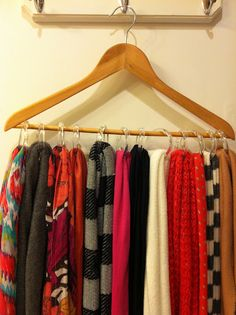 A great way to organize your scarves with shower curtain rings!