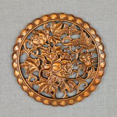 Round wall art wood plaque is handmade of beautiful butterfly on floral peony tree. Asian vintage distressed rustic accented wooden panels are personalized home design, decorating and remodeling ideas. Carved wood sculpture craft is unique home decor.