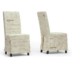 Baxton Studio Picard French Script Beige Linen Modern Dining Chairs (Set of 2) | Overstock.com Shopping - The Best Deals on Dining Chairs
