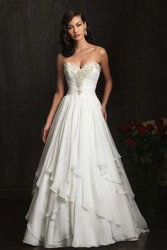 2014 Sweetheart Beaded Neckline Pleated Bodice With Layered Chiffon Skirt  Court Train Chiffon Wedding Gowns eb7686fd58c3
