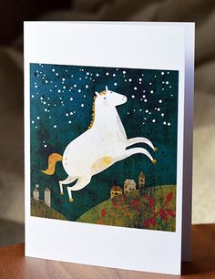 Horse card // greeting card // cute horse by schalleszter on Etsy
