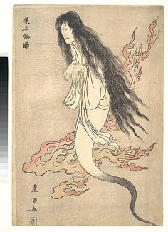 "Onoe Matsusuke as the Ghost of the Murdered Wife Oiwa, in ""A Tale of Horror from the Yotsuya Station on the Tokaido Road""  Utagawa Toyokuni I  (Japanese, 1769–1825)  Period: Edo period (1615–1868) Date: 1812 Culture: Japan Medium: Polychrome woodblock print; ink and color on paper"