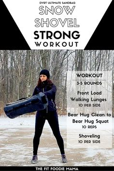 DVRT @UltimateSandbag Snow Strong Workout. Snow Shovel Workout for functional fitness and training. Use this workout to prepare for real life strength such as shoveling snow. Ultimate Sandbag Training drills such as the front loaded walking lunges, bear hug cleans, bear hug squats and shoveling help to train for both strength and endurance. Be functionally strong, not just gym strong. TheFitFoodieMama.com