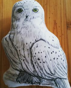 Hedwig the owl from Harry Potter hand drawn cushion