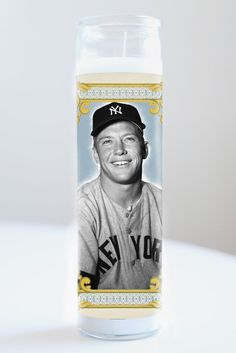 """Saint Mickey Mantle featured on Illuminidol's Texas-made 8"""" prayer candle. The most divine way to bless any NY Yankees disciple!  Texas Made 8"""" in height Unscented Ships anywhere in the US via Priority Mail International Shipping? Please contact info@illuminidol.com Custom and Wholesale options available  #mickey #mantle #baseball #mlb #sports #legend #nyc #newyorkyankees #yankees #popular #famous #celebrities #pray #candles #art #memes #blessed #lol #funny #humor #austin #texas #local…"""