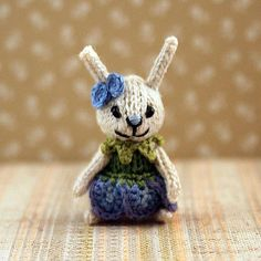 Bunny Bellflower knitted bunny mini bunny dollhouse