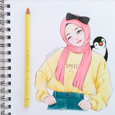 Girl Drawing Sketches, Girly Drawings, Cartoon Girl Drawing, Cartoon Sketches, Colorful Drawings, Teddy Bear Drawing, Hijab Drawing, Islamic Cartoon, Anime Muslim