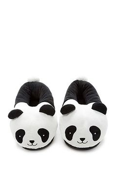 52960239f951 A pair of house slippers featuring an embroidered smiling panda face