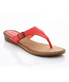 Look at this Lady Godiva Coral Sleek Wedge Sandal on #zulily today!