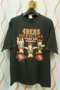 fd545518e Vintage 1994 San Francisco SF Forty Niners 49ERS x Stone Age Cartoon Hanna  Barbera T Shirt