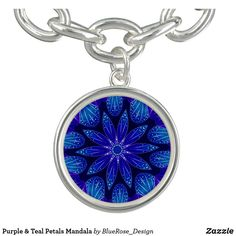 Purple & Teal Petals Mandala Bracelet Purple Teal, Blue, Photo Charms, Memorable Gifts, How To Memorize Things, Mandala, Perfume, Pendant Necklace, Bracelets