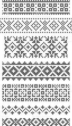 Fantastic Snap Shots Cross Stitch borders Style Set of seamless geometrical borders embroidery cross vector: set of seamless geometrical borders, e Cross Stitch Geometric, Cross Stitch Borders, Cross Stitch Alphabet, Cross Stitching, Cross Stitch Patterns, Crochet Borders, Fair Isle Knitting Patterns, Knitting Charts, Knitting Stitches