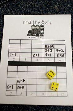 """zoooooo makkelijk, dat ik er zelf niet opkwam """"math find the sums game"""", """"number sense - might be a great center activity for grade math! Math Classroom, Kindergarten Math, Teaching Math, Math Stations, Math Centers, Math Resources, Math Activities, Therapy Activities, Math Addition"""