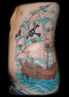 just the ship, no water or sky, and much smaller. Pirate Ship Tattoos, Pirate Tattoo, Bear Tattoos, Body Art Tattoos, Gun Tattoos, Ship Tattoo Sleeves, Sailing Tattoo, Sailor Tattoos, Epic Tattoo
