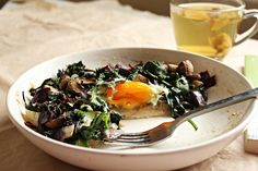 Mushroom, Spinach, and Baked Egg from Kitchen of Love