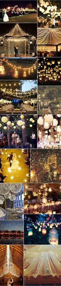 25 Unique Wedding Light Ideas! Look at all the pretty lights!