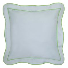 Scallop Linen Euro Sham, Pale Blue with Green