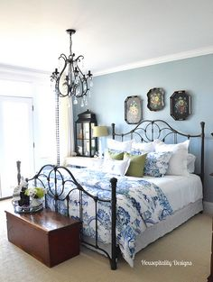 Guest Room-Housepitality Designs - Pottery Barn Darcy Toile duvet cover, blue walls, white sheets, and pops of bright green.