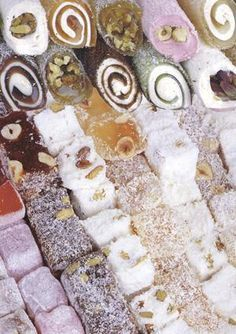Can i just say, personally i think that Turkish delight is the best candy/sweet food in the world! ( Besides cookie dough :D ) Candy Recipes, Sweet Recipes, Dessert Recipes, Sweet Desserts, Delicious Desserts, Yummy Food, Turkish Sweets, Best Candy, Turkish Delight