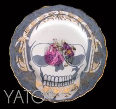 Customized Vintage Porcelain by Béa Corteel  Collection SKULL DJ